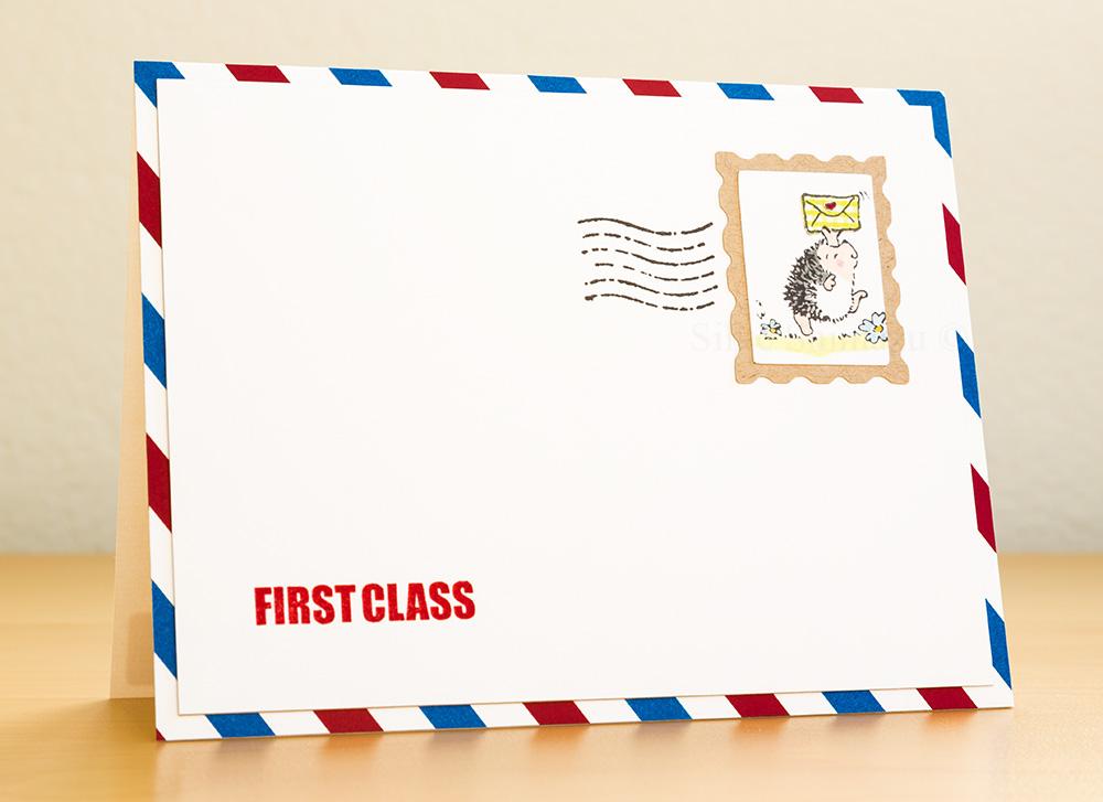 Penny Black hedgehog airmail themed card